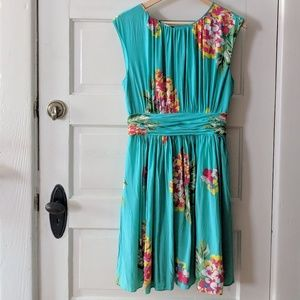 Boden Sleeveless Floral Teal Dress